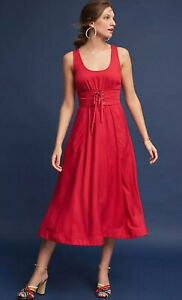 Anthropologie Plenty by Tracy Reese Size 10 Cranberry Red Corset Midi Dress