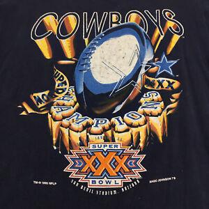 1996 Vintage Dallas Cowboys Super Bowl XXX T Shirt - L - Magic Johnson T's