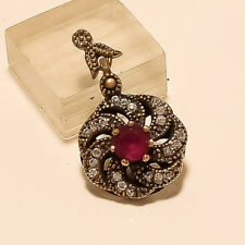 Silver Women Christmas Retro Jewelry Solitaire Ruby Charm Pendant 925 Sterling