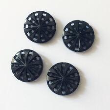 4 BOUTONS Anciens en BAKELITE Noir 1930 HAUTE COUTURE 27 mm
