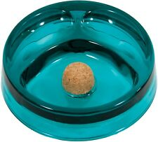 Turquoise Color 6.5� Round Glass 2 Pipe Ashtray with Cork