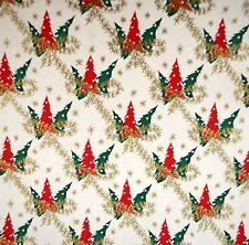 Vtg 1950s Christmas Gift Wrapping Paper Trees & Gold Garland Bows 3 yds