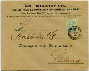 TURKEY BRITISH P.O CONSTANTINOPLE 1911 PRINTED ENV LA DISCRETION KE7 1/2d LEVANT