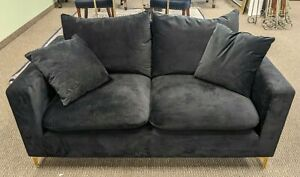 "AllModern Velvet 58"" Square Arm Loveseat"