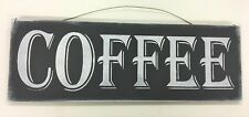 Coffee Kitchen Wooden Wall Art Sign black and white chalkboard style cafe decor