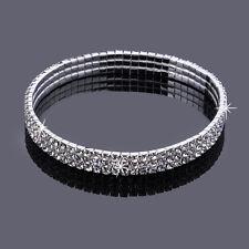 Full 3 Row Three RowCrystal Rhinestone Stretch Silver Anklet Ankle Bracelet
