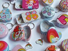 Girls rainbow charm necklace in keyring storage tin, birthday party bag filler