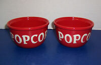 """Tabletops Unlimited Lifestyles Espana 2 Red & White Popcorn Bowls (5.5"""") NICE"""