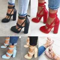 Womens Party Pointed Toe Lace Up Ankle Strap Sandals Block High Heels Shoes HOT