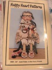 "Aunti Felinie & Her Furry Friends 26"" whimsical cloth art doll pattern 2010"