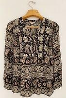 LUCKY BRAND Women Top Blouse Sz S Black Ivory Rust Long Sleeve V-Neck Button