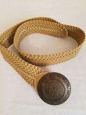 Ladies Tan Vinyl Belt - Large Brass Buckle - Used - B009