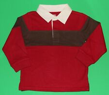 2t Euc Gymboree Holiday Express Red Brown Rugby Shirt Top Boys