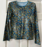 J Jill Womens S Long Sleeve Satin Trimmed Tee Round Neck Floral Blue Brown Olive