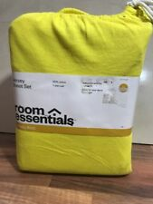 NEW ROOM ESSENTIALS YELLOW XL TWIN JERSEY KNIT SOFT COTTON SHEET SET DORM