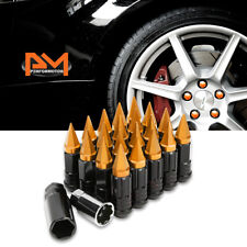 M12X1.5 Orange JDM Cone Wheel Lug Nut+Spline Lock+Spiked Cap+Key 25mmx75mm 20Pc