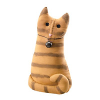 New Primitive Country Folk Art ORANGE TABBY CAT WITH BELL Doll Make Do 12""