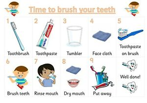 NEW ** A4 Poster ** Brushing your teeth routine  Autism ~ASD~SEN