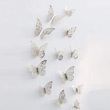 12X 3D Wall Stickers Butterflies Hollow DIY Poster Decal Mural Bedroom Decor NEW