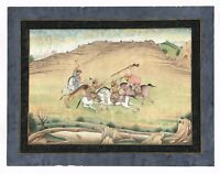 Hand Painted Persian Miniature Painting Hunting Scene Finest Artwork On Paper