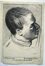 ETCHING MANS HEAD FACING RIGHT AFTER WATTEAU BY BALTAZAR SETLETSKY C1740