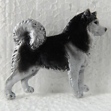 Alaskan Malamute Black White Brooch Dog Breed Jewellery Handpainted Handcrafted