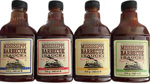 (9,80€/kg) 4x 510g Mississippi BBQ Saucen Testpaket Marinade Grillsauce