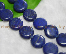 "Natural 14mm Egyptian Lapis Lazuli Coin Gemstone Loose Beads 15"" AAA"