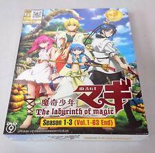 MAGI THE LABYRINTH OF MAGIC Complete Anime Season 1 - 3 TV Ep.1 - 63 End DVD Box