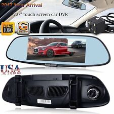 HD 1080P 7'' Dual Lens Car DVR Rearview Mirror Camera Recorder Dash Cam G-s