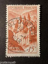 FRANCE 1947, timbre 792, ABBAYE DE CONQUES, ABBEY, oblitéré CACHET ROND VF STAMP