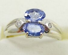 14K White Gold Tanzanite Ring Diamond Accents Size 6.75 Tapered Shank
