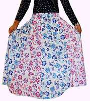 Indian 100% cotton Long Skirt Floral Print Hippie Women Plus size Multi Color