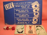 "1950's 4 Dice & Sign LIFE IS LIKE A DECK OF CARDS & 3 Vintage Cards ""WEIRD"""