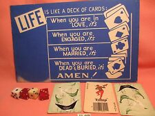 1950's 4 Dice & Sign LIFE IS LIKE A DECK OF CARDS & 3 Vintage Cards MAKE OFFER