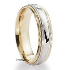 10K TWO TONE GOLD  MENS WEDDING BANDS,DOME MILGRAIN 6MM WEDDING RINGS