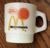 Fire King Coffee Mug Good Morning McDonalds Stackable Milk Glass Tea Cup VTG