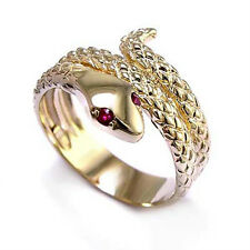 ANZOR' EXCLUSIVE! SNAKE RUBY EYE SERPENT RING 14K GOLD #R530