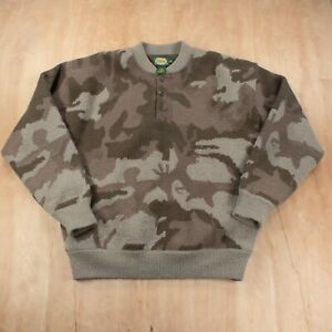 Cabela's windshear camouflage henley sweater LARGE big thick wool hunting