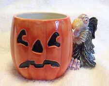 Fitz and Floyd Halloween Pumpkin w Vulture Buzzard Coffee Mug Cup from 1980s