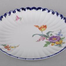 Meissen große Kuchen Schale / Teller, Blumen Bukett & kobaltblau, 1.Wahl, 27 cm