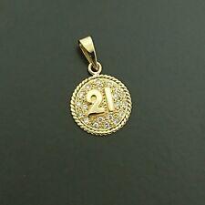 18ct yellow gold small diamond set 21 pendant