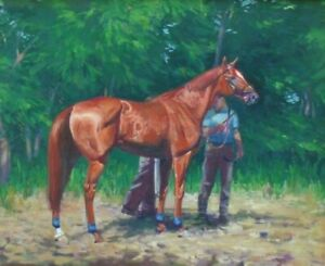 Original Painting Thoroughbred Race Horse Signed Framed
