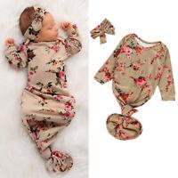 US 2PCS Newborn Baby Girl Cotton Swaddle Wrap Blanket Sleeping Bag Sleepsack Set