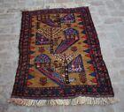 2'10 x 4'5 Ft Vintage handmade afghan small baluchi rug, Tribal hand knotted rug