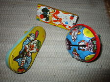 Vintage Tin  Metal Party Noisemakers Set of three  Clowns trumpet player