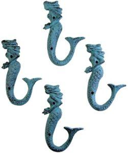 Aqua Blue Cast Iron Mermaid Wall Hook 6 Inch (Set of 4)
