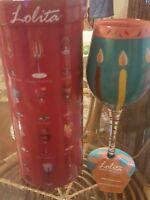 "Lolita ""30 ish""  love my wine glass beautifully hand painted 15oz new in box"