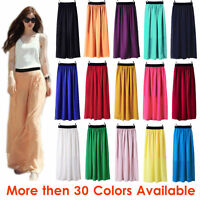 M Women Double Layer Chiffon Pleated Retro Long Maxi Dress Elastic Waist Skirt