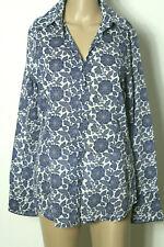 MEXX Bluse Gr. 40 weiß-blau Blumen Baumwolle Langarm Hemd/Bluse